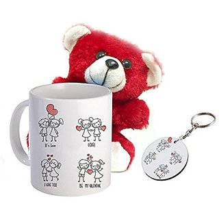 Sky Trends Valentine Amazing Product Printed Coffee Mug Keychain Soft Teddy Best Valentine Gift For Husband Wife amp Lovers STG-020