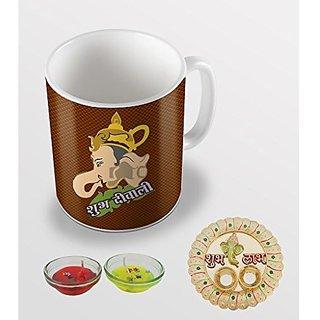 Sky Trends Shubh Diwali God Ganesh Ji Special Diwali Gifts For Coffee Mug With Thali Candles Combo