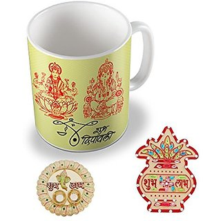 Sky Trends Diwali gifts Best Gifts For Diwali Shubh Deepawali Ganesh Laxmi Coffee Mug Thali Kalash Unique Gifts For Diwali Gifts Set