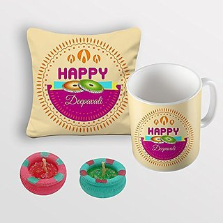 Sky Trends Happy Deepawali Chakri Best Diwali Gifts For Cushion Cover Coffee Mug Diye Combo