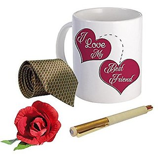 Sky Trends Valentine Combo Gift For Friend Printed Coffee Mug Fancy Tie Artyficial Rose And Smooth Wrinter Pen Best Surprised Gift For Friend STG-110