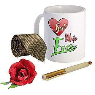 Sky Trends Valentine Combo Gift For Husband Printed Coffee Mug Fancy Tie Artyficial Rose And Smooth Wrinter Pen Best Surprised Gift For Husband STG-102
