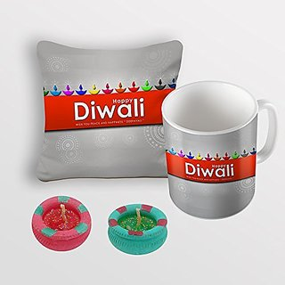 Sky Trends Happy Diwali Colorful Diye Best Diwali Gifts For Cushion Cover Coffee Mug Diye Combo