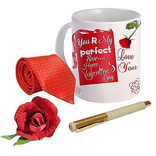 Sky Trends Valentine Combo Gift For Boyfriend Printed Coffee Mug Fancy Tie Artyficial Rose And Smooth Wrinter Pen Best Surprised Gift For Boyfriend STG-005