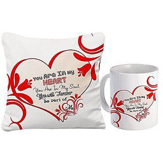 Sky Trends Valentine Day Best Couple love You Surpirse Gifts For Wife Girlfriend Husband Printed mug with Cushion Cover 173