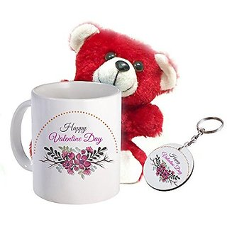 Sky Trends Valentine Teddy Day Combo Gift Set Prinetd Coffee Mug Keychain teddy Best Combination Gift Valentine For Lovers And Couples STG-0043