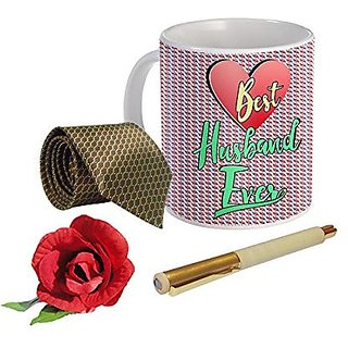 Sky Trends Valentine Combo Gift For Boyfriend Printed Coffee Mug Fancy Tie Artyficial Rose And Smooth Wrinter Pen Best Surprised Gift For Boyfriend STG-103