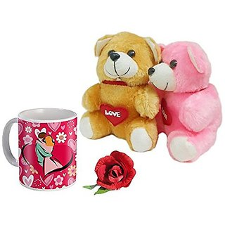 Sky Trends Valentine Gifts For Girlfriend Boyfriend Couple Gifts Printed Coffee Mug With Teddy Bear and Artificial Rose a Heart Feeling Gifts 277
