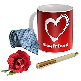 Sky Trends Valentine Combo Gift For Husband Printed Coffee Mug Fancy Tie Artyficial Rose And Smooth Wrinter Pen Best Surprised Gift For Husband STG-083