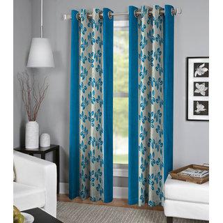Shri Shyam Furnishing Blue Floral Window Eyelet Curtain Set of 2