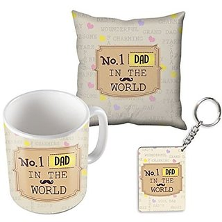 No.1 DAD In The World With Small Mustaches Best Gifts For Happy Fathers Day Mug Cushion Cover And Keychain