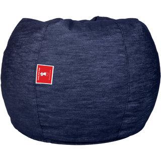 Comfy Bean Bags - Bean Bag - Designer Denim Fabric - Size Jumbo - Filled With Beans Filler - Dark Blue