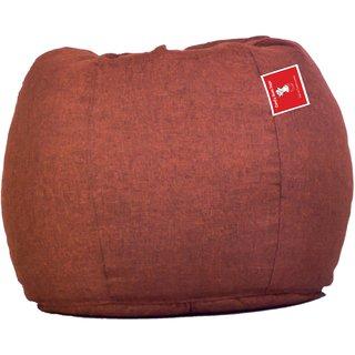 Comfy Bean Bags - Bean Bag - Designer Jute Fabric - Size Xxl - Filled With Beans Filler - Brown
