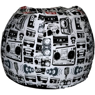 Comfy Bean Bags - Bean Bag - Printed - Size Xxxl - Filled With Beans Filler - Radio White