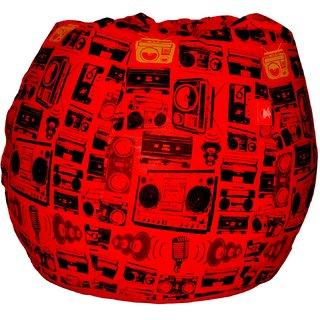 Comfy Bean Bags - Bean Bag - Printed - Size Xxxl - Filled With Beans Filler - Radio Red