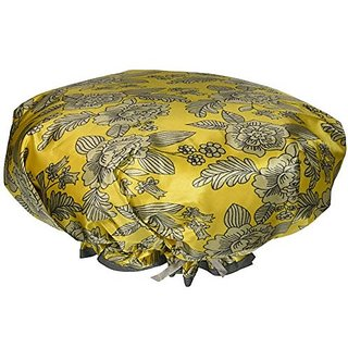 Mademoiselle Designer Shower Cap with Drawsting Pouch, Sunny Disposition