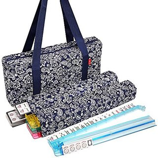 NEW! - American Mahjong Set by Linda Li™ - 166 White Tiles, 4 All-In-One Rack/Pushers, Blue Paisley Soft Bag - Classic Full Size Complete Mahjongg Set