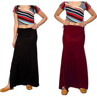 Aika Women's Sarina(Lycra) Readymade Petticoat Combo Pack 2 Pcs (FreeMaroon,Black)Pe-65 P-Coat Black Maroon
