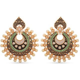 Tistabene Retails Floral Emboss Black Enamelled Polki Gold Plated Designer Dangler Earring For Women and Girls (ER-3050)