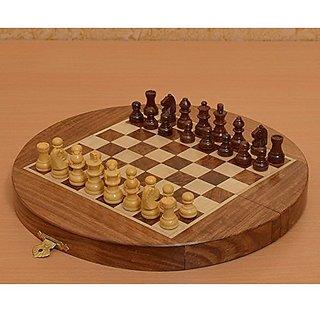Chessbazaar Traveling Folding Round Magnetic 8 3/4 Inch Diameter Chess Set
