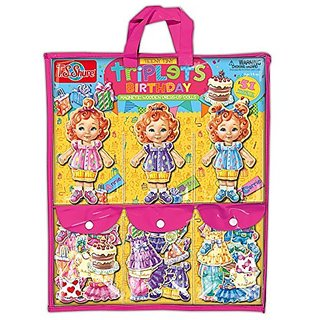 T.S. Shure Teeny Tiny Triplets Birthday Wooden Magnetic Dress-Up Dolls