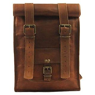 Satya Unisex Brown Pure Leather Casual Use Backpack 10inchx13inch