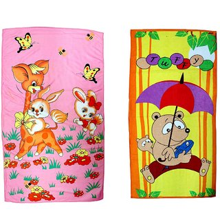 BcH Cotton Baby Towel Set of 2 (Multicolor)