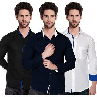 Sydney Style Stylish Regular Fit Poly-Cotton Shirts For Men Set of 3