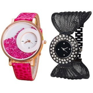KAYRA FASHION  Pink Simple Diamond Dial Leather  Black Zula Metal Analog Watch For Women  Girls Pack Of 2
