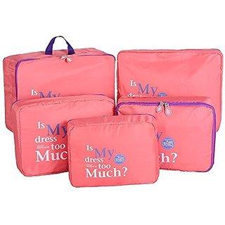 Styleys 5 pcs, 1 Set Travel Bag Organizer Packing Cubes (Pink)