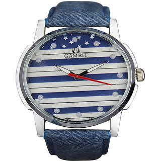 GAMBIT STYLISH BLUE DENIM STRAP WRIST WATCH FOR MEN-PRGB18