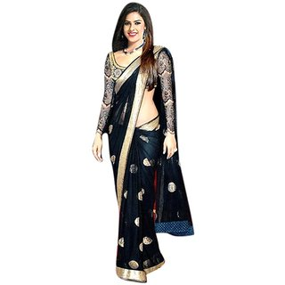 Styloce Black Net Embroidered Saree With Blouse