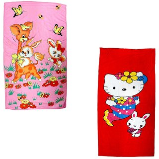BcH Cotton Baby Towel Set of 2 (Multicolor)