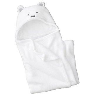 Zenness Multifunction Cute Bear Infant Wrap Soft Baby Bath Towel White