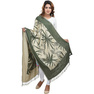 Himani Olive Green  Off White Viscose Jacquard Reversible Shawl(70x210 cm)