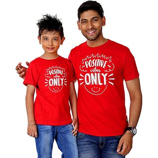 Positive Vibes Only Tees combo for Dad and Son