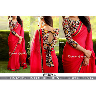 3927033c01434 Buy Srk Red Colour Plain Georgette Border Work Saree KT-3187-A Online    ₹979 from ShopClues