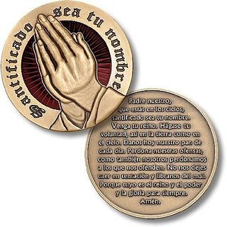 The Lords Prayer Spanish Version Challenge Coin