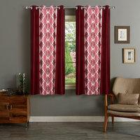 Shri Shyam Furnishing Maroon Window Eyelet Curtain Set of 2