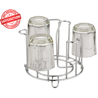Aarna Straight Design Glass Stand 4 MM Stainless Steel Rack of 6