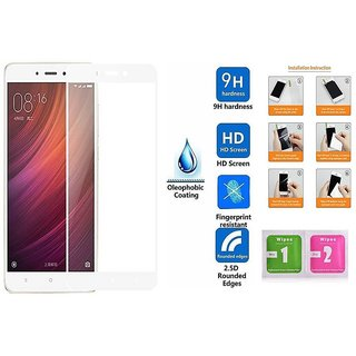 Xiaomi Redmi Note 4 Premium Full Front Body Covered Tempered Glass (White)/Screen Protector/ Screen Guard HD Quality