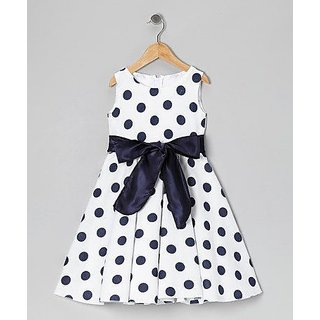 Meia for girls black and white polka dot cotton frock