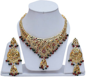Lucky Jewellery Designer Magenta Green Color Gold Plated Navratan Necklace Set For Girls & Women