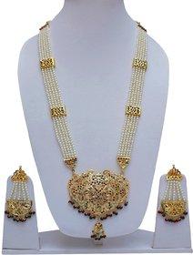 Lucky Jewellery Designer Magenta Green Color Gold Plated Navratan Guluband Necklace Set For Girls & Women