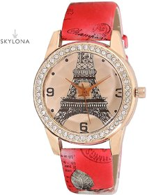Rose Gold Paris Style Dial Round Shaped Leather Belt Wa