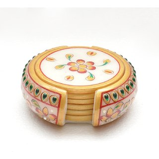 Handicrafts Handpainted Marble Coaster set with 6 Coasters plates made in makrana marble Home Decor office Decor