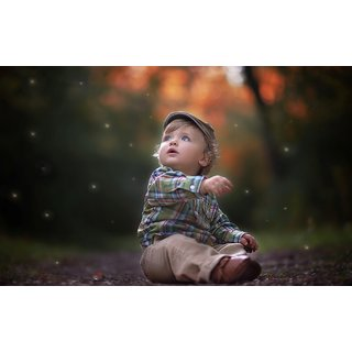 buy myimage cute baby boy watching stars in sky poster canvas cloth