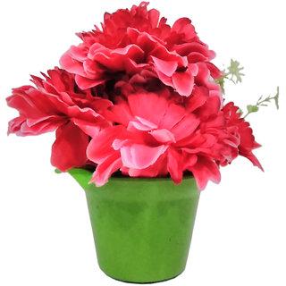 PujaShoppe Artificial Flowers Fiber Mix Red Colour