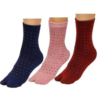 DDH Women Ankle Length Socks Dot Print (Pack of 3)
