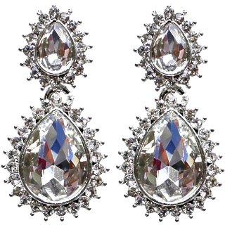 Lucky Jewellery Silver Tone Partywear Stud Stone Earring
